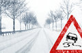 Snowfall on a country road sudden and heavy driving it becomes dangerous … Stock Photo