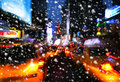 Snowfall. Illumination and night lights of New York City Royalty Free Stock Photo