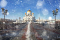 Snowfall in Moscow Royalty Free Stock Photo