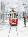 Snowfall and old tram Royalty Free Stock Photo