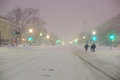 Snowfall in washington d c capital of usa Royalty Free Stock Image