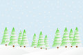 Snowfall in the winter forest vector illustration of Stock Photo