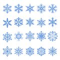 Snowflake blue line icons on white background Royalty Free Stock Photo