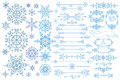 Snowflake,Border,frame set.Winter doodles decor Royalty Free Stock Photo