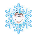 Snowflake emoticon in love cartoon illustration of a with a stupid facial expression Stock Photo