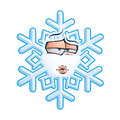 Snowflake emoticon smooch cartoon illustration of a sending a kiss Stock Photography
