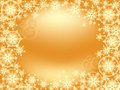 Snowflake frame gold size of tender golden snowflakes scattered on the background for christmas card screensaver wallpaper Stock Images