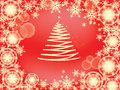Snowflake frame red with christmas tree of tender golden snowflakes scattered on the background for card screensaver wallpaper Stock Photos