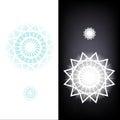 Snowflake geometryczny dekoracyjny znak odizolowywający na ciemnym i białym Zdjęcia Royalty Free