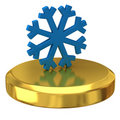 Snowflake on gold podium Royalty Free Stock Photography