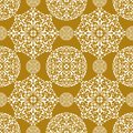 Snowflake gold seamless background pattern Royalty Free Stock Photo