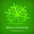 Snowflake in green color and text christmas vector illustration Royalty Free Stock Images