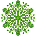 Snowflake from  green summer flowers Royalty Free Stock Photo