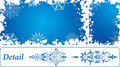 Snowflake grunge frame, elements for design, vector Stock Photo