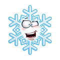 Snowflake head aha cartoon illustration of a emoticon laughing with excitment Royalty Free Stock Photos