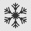 Snowflake icon in flat style. Snow flake winter vector illustration on isolated background. Christmas snowfall ornament business Royalty Free Stock Photo