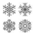 Snowflake Icons Set on White Background. Vector Royalty Free Stock Photo