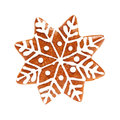Snowflake Isolate. Christmas Cookie on White Royalty Free Stock Photo