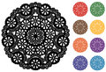 Snowflake Lace Doily, 9 Jewel tones Stock Images