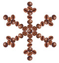 Snowflake made of coffee beans Royalty Free Stock Image