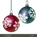 Snowflake Patterned Christmas Baubles Royalty Free Stock Photo