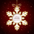 Snowflake on red background bow and with stars illustration Stock Photos