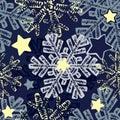 Snowflake seamless winter hand drawn pattern. Royalty Free Stock Photo