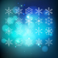 Snowflake set big on blue abctract background Stock Photos