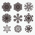 Snowflake set of cool hand drown vector snowflakes elements for your christmas design Stock Image