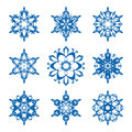 Snowflake set of ornamental snowflakes isolated on white Stock Image