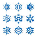 Snowflake set of ornamental snowflakes isolated on white Royalty Free Stock Images