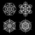 Snowflake set vector silhouette symbol icon design. Royalty Free Stock Photo