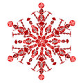 Snowflake shape from red ruby gems isolated on white Royalty Free Stock Photo