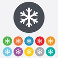Snowflake sign icon air conditioning symbol round colourful buttons Stock Photo