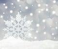 Snowflake on snow studio shot christmas Royalty Free Stock Image