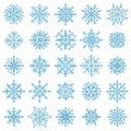 Snowflake stars. Winter frost snowflakes, xmas snowfall ornament, blue ice stars silhouette vector illustration symbol Royalty Free Stock Photo