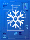 Snowflake symbol like blueprint drawing stylized of snow sign on paper qualitative vector eps illustration for new years day Royalty Free Stock Photos