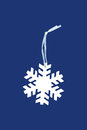 Snowflake tag white on blue background Stock Photos