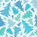 Snowflake textured christmas trees seamless vector blue and green snowflakes pattern background Royalty Free Stock Photography