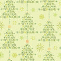 Snowflake textured christmas trees seamless vector green snowflakes pattern background Stock Images