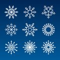 Snowflake vector icon background set white color. Winter blue christmas snow flake crystal element. Vector stock illustration