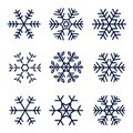 Snowflake vector icons set isolated on white background Royalty Free Stock Photo