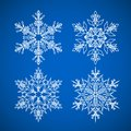 Snowflake. Vector icons set. Winter Christmas snow is a flat crystal element.