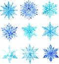 Snowflake watercolor pattern