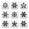 Snowflake winter buttons set christmas snowflakes isolated on white Royalty Free Stock Photo