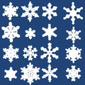 Snowflake winter icons set collection of snow flake symbols Royalty Free Stock Image