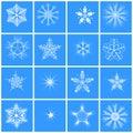 Snowflake 16 winter set vector. Royalty Free Stock Photo
