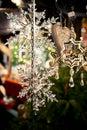 Snowflakes as christmas-tree decoration Royalty Free Stock Photo
