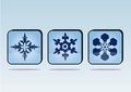 Snowflakes buttons vector illustrations of Royalty Free Stock Image