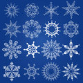 Snowflakes christmas design elements on a blue background Royalty Free Stock Photography